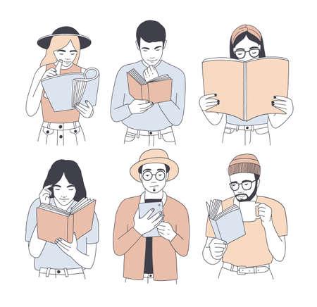 Raccolta di ritratti di uomini e donne che leggono carta e libri elettronici isolati su priorità bassa bianca. Insieme di giovani lettori maschi e femmine vestiti con abiti alla moda. Cartoon illustrazione vettoriale.