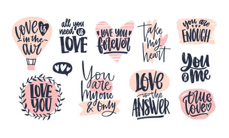 Collection of stylish Valentines day lettering handwritten with elegant cursive font. Romantic phrases, slogans decorated by pink hearts isolated on white background. Hand drawn vector illustration  イラスト・ベクター素材