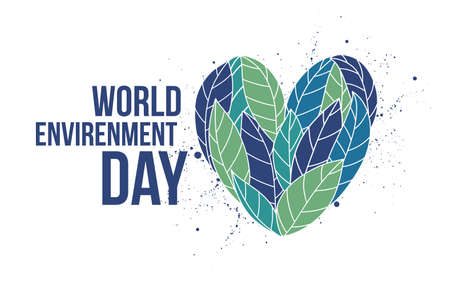 Heart made of blue and green leaves and World Environment Day lettering written with elegant calligraphic font. Ecology, ecological and environmental problem solving. Colored vector illustration