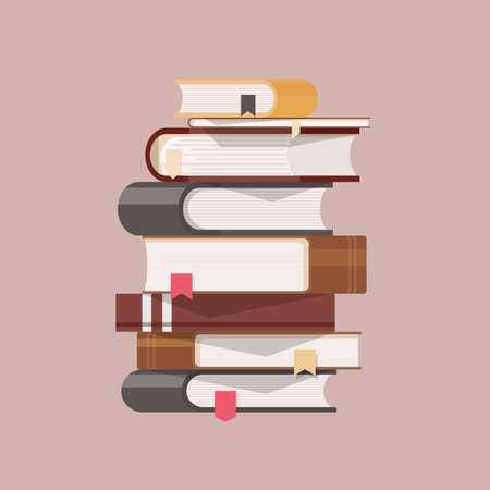 Stack of antique books with hardcovers and bookmarks isolated on light background. Pile of literary works with colorful covers. College education, literature learning, reading. Vector illustration.