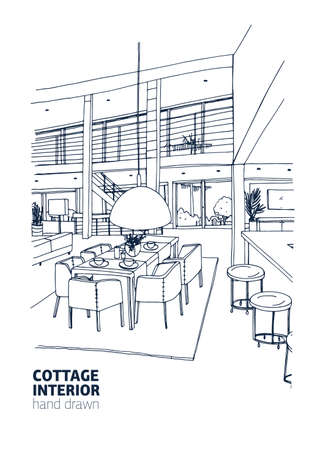 Freehand drawing of residential house or summer cottage interior furnished in trendy Scandic style. Stylish dining room hand drawn with outlines on white background. Realistic vector illustration.