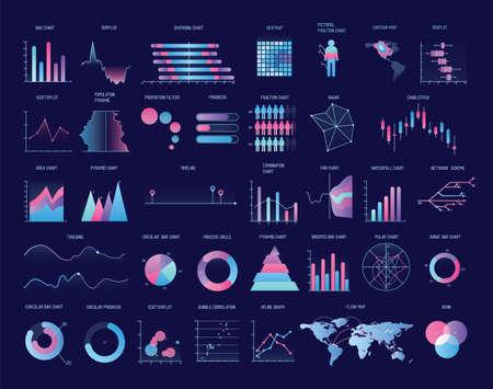 Colección de tablas de colores, diagramas, gráficos, diagramas de varios tipos. Visualización de datos estadísticos e información financiera. Ilustración de vector moderno para presentación de negocios, informe. Ilustración de vector