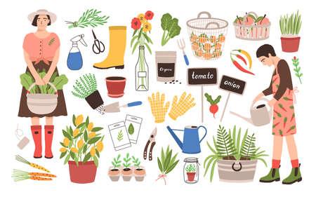 Collezione di due donne giardiniere e attrezzi da giardinaggio: annaffiatoio, cesti di frutta, semi, potatore, cazzuola, stivali di gomma, guanti, piantine, piante in vaso. Fumetto illustrazione vettoriale in stile piatto.