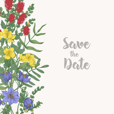 Floral square Save The Date card template decorated with border consisted of gorgeous wild blooming meadow flowers and flowering herbs on white background. Botanical realistic vector illustration.