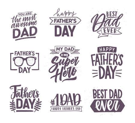 우아한 글꼴로 필기하고 축제 요소로 장식 된 아버지의 날 글자 모음. 휴가 비문 흰색 배경에 고립의 번들입니다. 흑백 벡터 일러스트 레이 션.