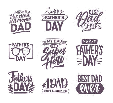 Collection of Fathers Day letterings handwritten with elegant fonts and decorated with festive elements. Bundle of holiday inscriptions isolated on white background. Monochrome vector illustration. Vettoriali