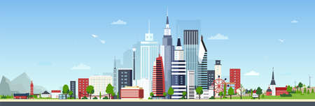 Urban landscape with modern down town or city center and small private residential houses against blue sky on background. Beautiful cityscape. Colorful vector illustration in flat cartoon style. Çizim
