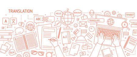 Monochrome banner with hands typing on laptop keyboard and writing on paper drawn with contour lines on white background. Translation of foreign languages. Vector illustration in lineart style.