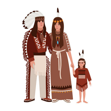 Family of American Indians. Mother, father and daughter dressed in ethnic tribal clothes standing together. Indigenous peoples of America. Cute cartoon characters. Vector illustration in flat style.