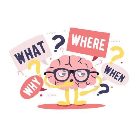 Cerveau humain mignon avec un visage réfléchi intelligent et des lunettes entouré de questions et de points d'interrogation. Personnage de dessin animé mignon isolé sur fond blanc, illustration vectorielle plat coloré.