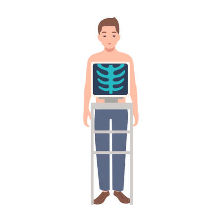 Patient during medical procedure of taking chest radiograph isolated on white background. Young man standing inside X-ray machine and picture of his rib cage on monitor. Cartoon vector illustration. Illusztráció