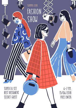 Creative flyer or poster template for fashion show with models wearing stylish haute couture clothes walking along runway or doing catwalk. Hand drawn vector illustration for event promotion. Stock Illustration - 102240264