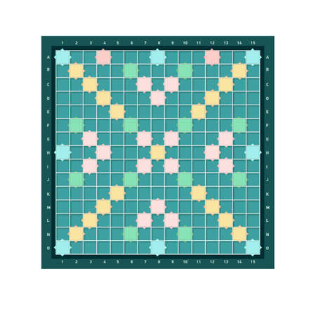 erudite square board design with grid of blank colorful cells. Popular intellectual tabletop word game for improving vocabulary, verbal or mental skills. Modern vector illustration.