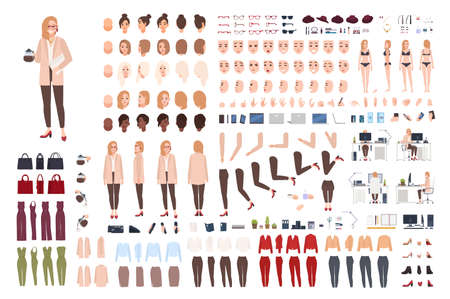 Female secretary or office assistant constructor or creation kit. Bundle of pretty cartoon character body parts, facial expressions, poses, clothes isolated on white background. Vector illustration.  イラスト・ベクター素材