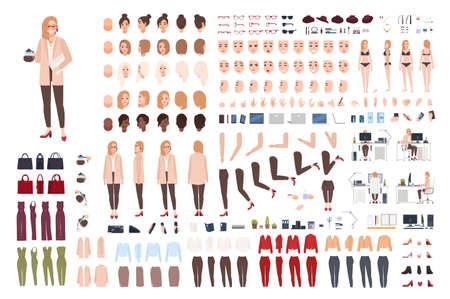 Weibliche Sekretärin oder Büroassistentin Konstrukteurin oder Kreationskit. Bündel hübscher Karikaturcharakter-Körperteile, Gesichtsausdrücke, Posen, Kleidung lokalisiert auf weißem Hintergrund. Vektorillustration.