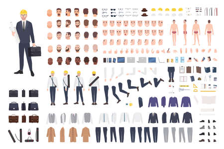 Architect or engineer constructor or DIY kit. Collection of male cartoon character body parts, facial expressions, gestures, clothes, working tools isolated on white background. Vector illustration. Ilustração