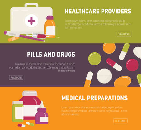 Collection of horizontal web banner templates with first aid kit, pills, medicines, medications and medical tools. Flat colorful vector illustration for online drugstore or pharmacy advertisement.