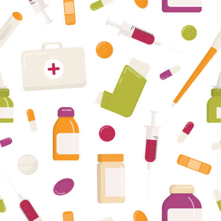 Seamless pattern with first aid kit, inhaler, pills, drugs, medications, syringe and other medical tools on white background. Flat cartoon colorful vector illustration for wrapping paper, wallpaper.