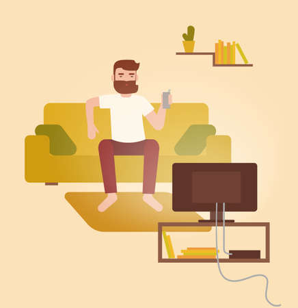 Male cartoon character sitting on cozy couch in front of television set, drinking beer and having fun at home. Young bearded man on comfortable sofa watching TV. Flat colorful vector illustration. Illustration