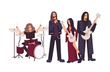 Heavy metal or gothic rock band performing on stage. Men and women with long hair singing and playing music during concert or rehearsal isolated on white background. Flat cartoon vector illustration.