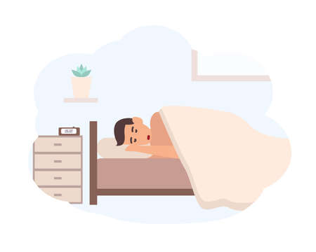 Young man sleeping beside nightstand with electronic alarm clock on it. Male cartoon character lying in bed. Scene of morning awakening, start of day. Colorful vector illustration in flat style.
