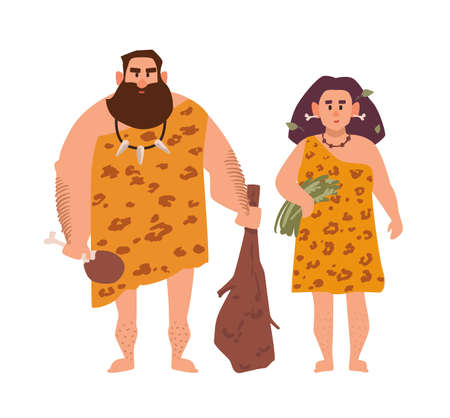 Pair of primitive archaic man and woman dressed in fur clothes and standing together. Romantic couple from Stone Age, cavemen. Cartoon characters isolated on white background. Vector illustration.  イラスト・ベクター素材