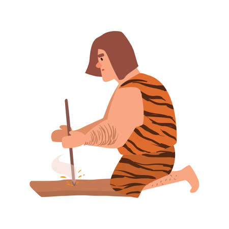 Primitive archaic man or caveman dressed in skin clothes lighting fire through friction by grinding piece of wood or hand drilling. Cartoon character isolated on white background. Vector illustration.