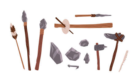 Collection of prehistoric stone tools. Bundle of rock weapons and equipment used by archaic human or caveman for hunting, fire lighting, manual work. Flat cartoon colorful vector illustration. 일러스트