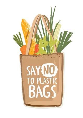 Textile eco friendly reusable shopping bag full of vegetables and other products with inscription Say No To Plastic Bags handwritten with creative font. Colorful hand drawn vector illustration. Vectores