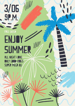 Creative flyer or poster template decorated with exotic plants, tropical palm trees, paint stains and blots for summer open air dance party. Modern vector illustration for seasonal event promotion.