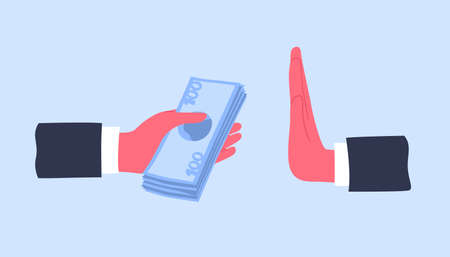 Hands giving money banknotes or offering bribe and refusing to take it. Concept of struggle against bribery and prevention of corruption. Cartoon colorful vector illustration in modern flat style. Stock Photo