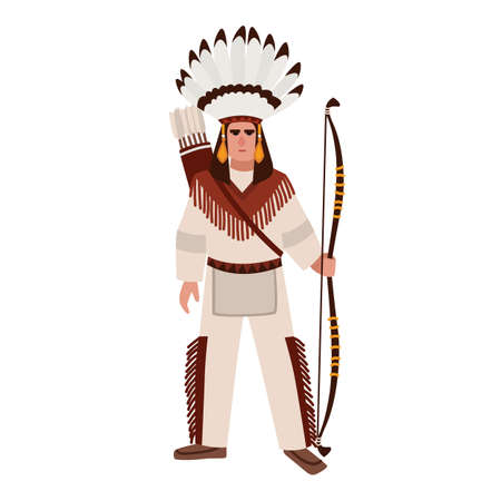 American Indian man or warrior wearing war bonnet and ethnic tribal clothes and holding bow. Indigenous peoples of America. Male cartoon character isolated on white background. Vector illustration.