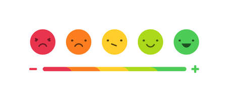 Feedback or rating scale with smiles representing various emotions arranged into horizontal row. Customers review and evaluation of service or good. Colorful vector illustration in flat style. 版權商用圖片