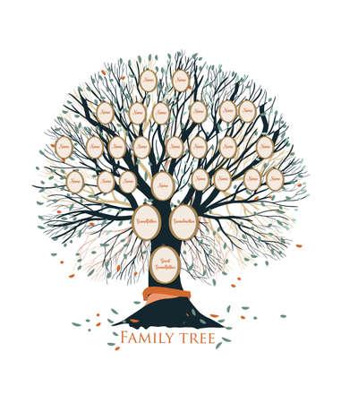 Árbol genealógico o plantilla de gráfico genealógico con ramas y marcos de retrato redondos aislados sobre fondo blanco. Representación de vínculos entre familiares y antepasados. Ilustración de vector. Foto de archivo