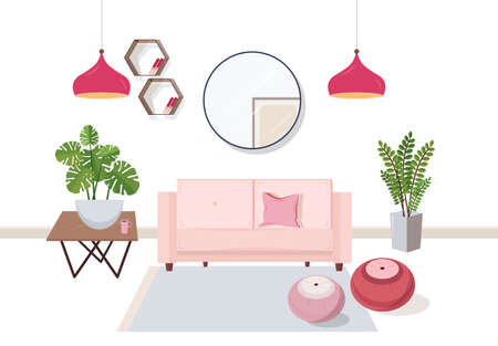 Interior of living room full of comfortable furniture and home decorations - couch, coffee table, house plants, ottoman footstools, shelves, lamps, mirror. Colorful vector illustration in flat style.