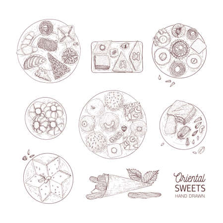 Bundle of monochrome drawings of oriental sweets. Set of traditional desserts hand drawn with contour lines on white background. Tasty confections, delicious pastry. Realistic vector illustration.