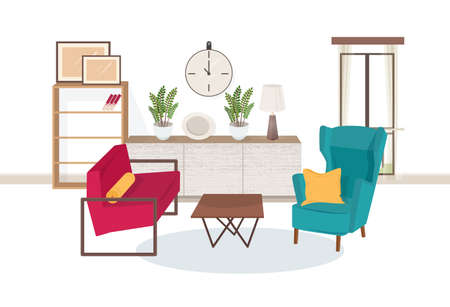 Interior of living room full of modern furniture - comfortable armchairs, coffee table, shelving with books, houseplants, lamp, wall pictures. Apartment furnished in hygge style. Vector illustration.
