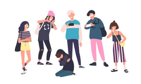 Sad teenage boy sitting on floor surrounded by classmates mocking him, scoffing, taking photos on smartphones. Problem of mockery and bullying at school. Flat cartoon colorful vector illustration.