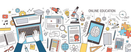 Colorful horizontal banner with hands typing on laptop and holding tablet computer and various office supplies. Distance online education, internet learning. Vector illustration in line art style.