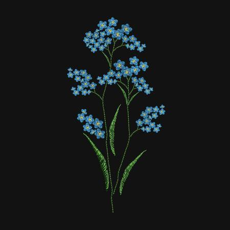 Forget-me-not flower embroidered with blue and green threads on black background. Elegant embroidery design with wild flowering herbaceous plant. Handiwork or handicraft. Colorful vector illustration.