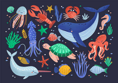 Collection of cute funny smiling marine animals - mammals, reptiles, molluscs, crustaceans, fish and jellyfish isolated on dark background. Sea and ocean fauna. Flat cartoon vector illustration. Stock Illustratie