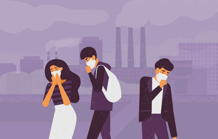 Sad people wearing protective face masks walking on street against factory pipes emitting smoke on background. Fine dust, air pollution, industrial smog, pollutant gas emission. Vector illustration.