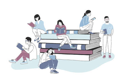 Male and female readers dressed in stylish clothes sitting on pile of giant books or beside it and reading. Studying students or literature fans. Colored vector illustration in modern style.
