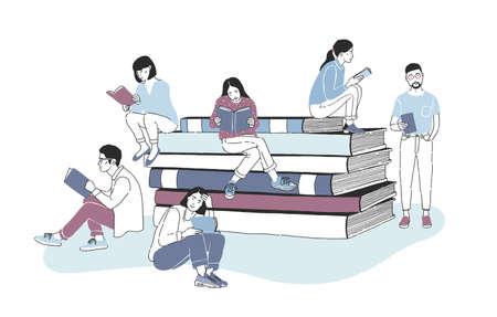 Lectores masculinos y femeninos vestidos con ropa elegante sentados en una pila de libros gigantes o al lado y leyendo. Estudiantes que estudian o aficionados a la literatura. Ilustración de vector de color en estilo moderno.