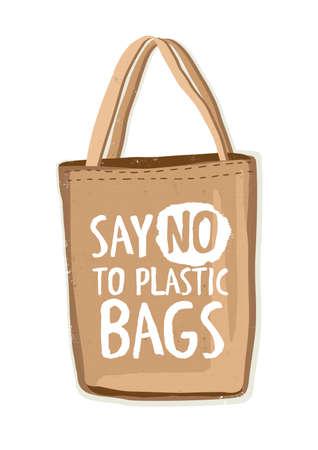 Bolsa de compras reutilizable textil ecológica o ecológica con letras Diga no a las bolsas de plástico escritas a mano con una fuente moderna y original. Ilustración de vector dibujado a mano colorido.