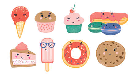 Bundle of various sweet desserts and baked confections with cute smiling faces isolated on white background. Adorable funny cartoon characters. Colorful childish vector illustration in flat style. Illustration