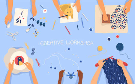 Horizontal banner with hands creating handmade works - drawing, woodblock printing, beadwork, embroidering, knitting, scrapbooking. Creativity lesson or workshop for kids. Flat vector illustration.