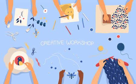 Banner horizontal con manos creando trabajos hechos a mano: dibujo, impresión en madera, abalorios, bordado, tejido, scrapbooking. Lección o taller de creatividad para niños. Ilustración de vector plano.
