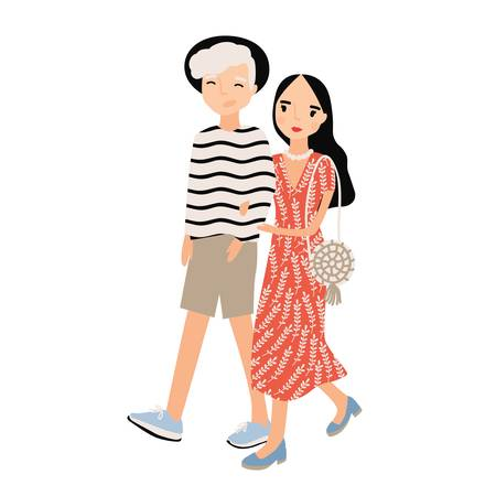 Cute romantic couple dressed in trendy clothes isolated on white background. Stylish hipster boy and girl walk together. Young man and woman in love. Colored vector illustration in flat cartoon style.