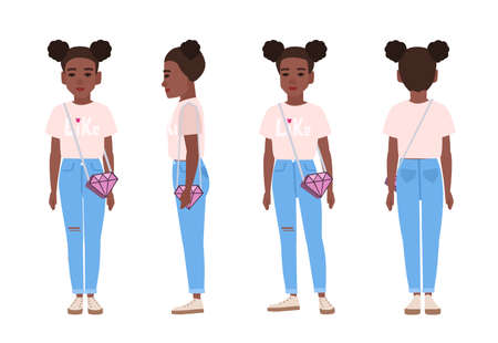 African American teenage girl or teenager wearing blue ragged jeans, pink t-shirt and sneakers. Flat cartoon character isolated on white background. Front, side and back views. Vector illustration.